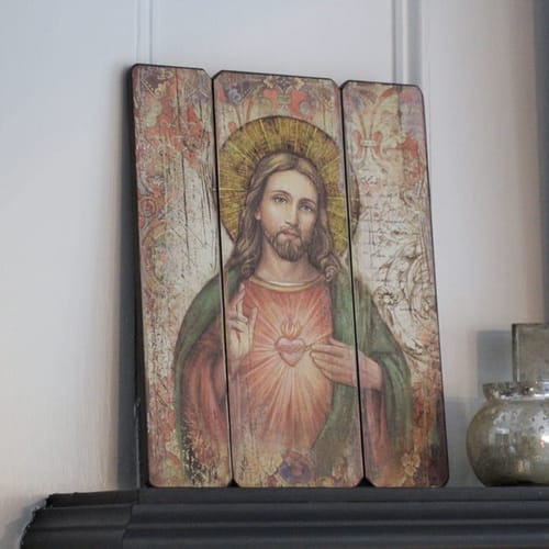 sacred heart of jesus wall plaque the catholic company. Black Bedroom Furniture Sets. Home Design Ideas