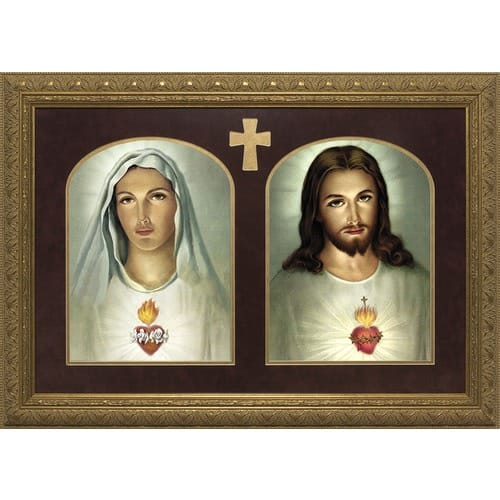 Sacred & Immaculate Hearts Print Gold Frame