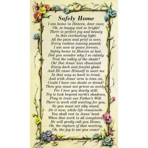 Safely Home Personalized Prayer Card (Priced Per Card)