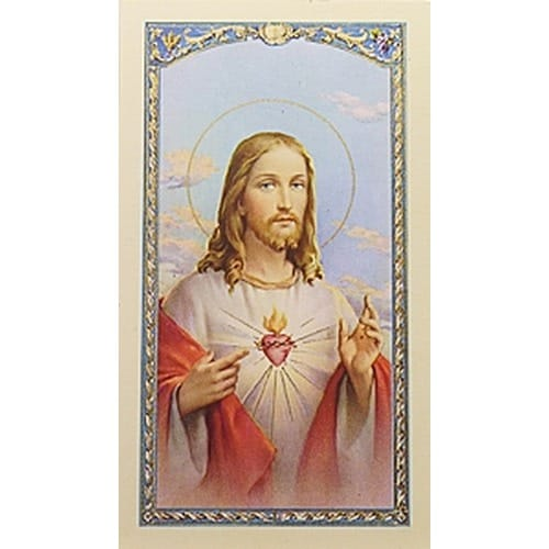Sagrado Corazón de Jesus – Sacred Heart of Jesus -  Spanish Prayer Card