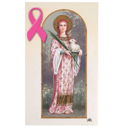 Saint Agatha Breast Cancer Personalized Prayer Card     (Priced Per Card)