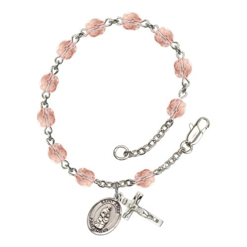St. Anne Pink October Rosary Bracelet 6mm