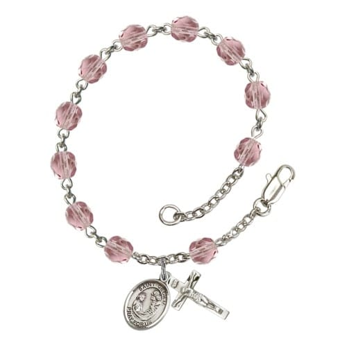St. Cecilia 6mm light purple June Rosary Bracelet