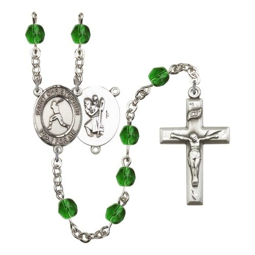 St. Christopher/Baseball Green May Rosary 6mm