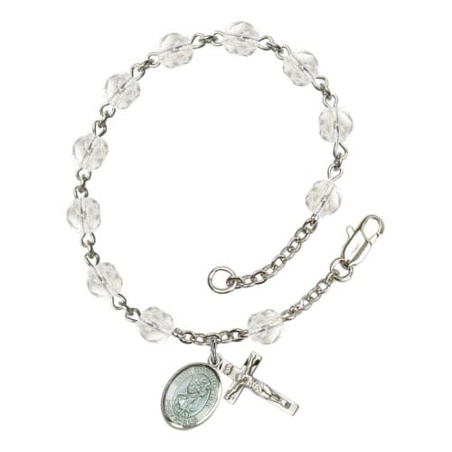 St. Christopher Crystal April Rosary Bracelet 6mm