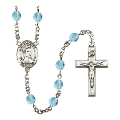 St. Elizabeth Of Hungary Aqua Blue March Rosary 6mm