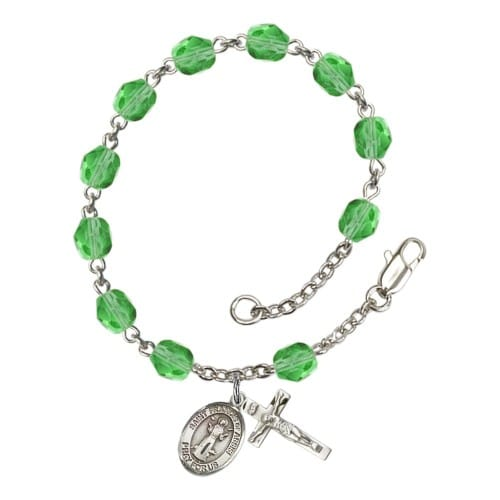 St. Francis Of Assisi Green August Rosary Bracelet 6mm