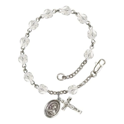 St. Francis Xavier Crystal April Rosary Bracelet 6mm
