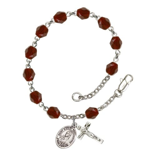 St. Kateri Tekakwitha Red January Rosary Bracelet 6mm
