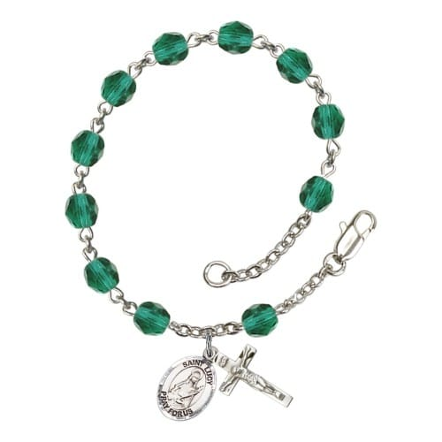 St. Lucy Teal December Rosary Bracelet 6mm