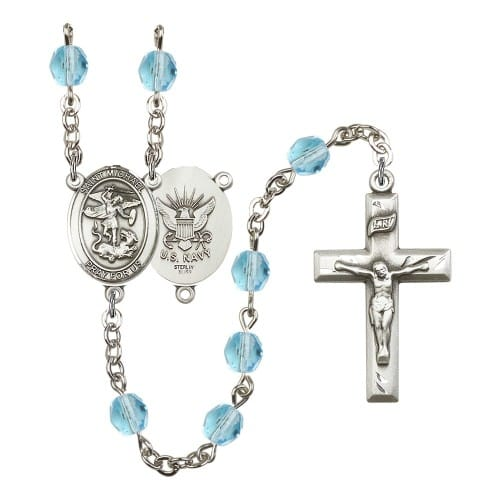 St. Michael / Navy Aqua Blue March Rosary 6mm