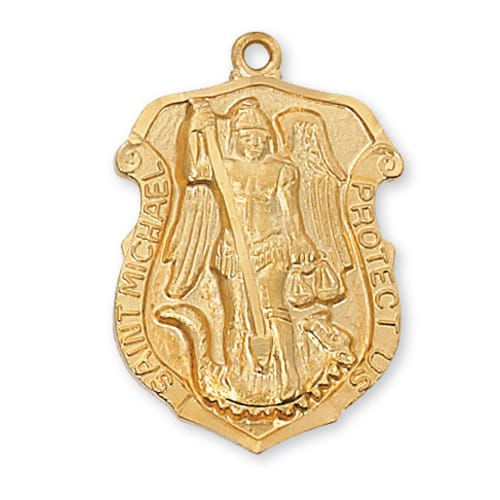 Saint Michael 'Shield' Medal - Gold/Sterling Silver<!militmed>
