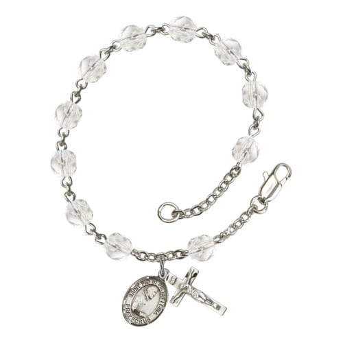 St. Pio Of Pietrelcina Crystal April Rosary Bracelet 6mm