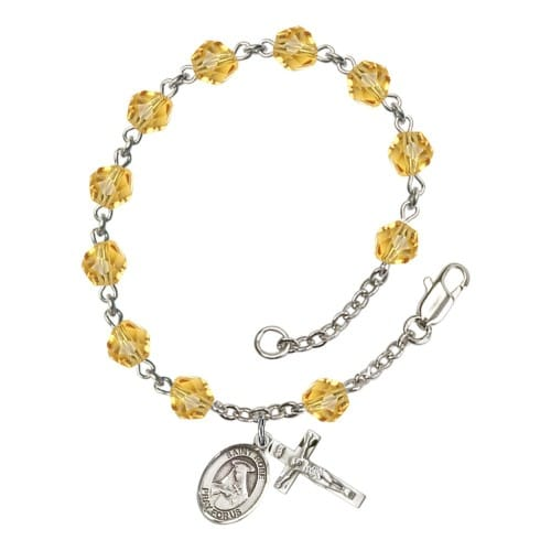 St. Rose Of Lima Yellow November Rosary Bracelet 6mm