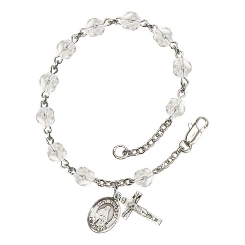St. Veronica Crystal April Rosary Bracelet 6mm