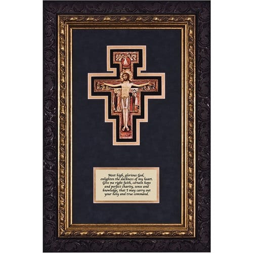 San Damiano Crucifix (Matted with Prayer in Dark Ornate Frame) 8x14