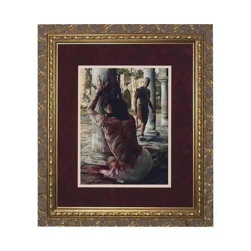 The Scourging at the Pillar (Matted w/ Ornate Gold Frame)