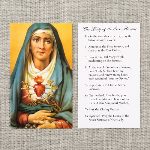 Seven Sorrows Chaplet Prayer Card