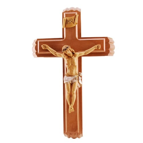 Sick Call Set Crucifix - Walnut/Resin 12 inch
