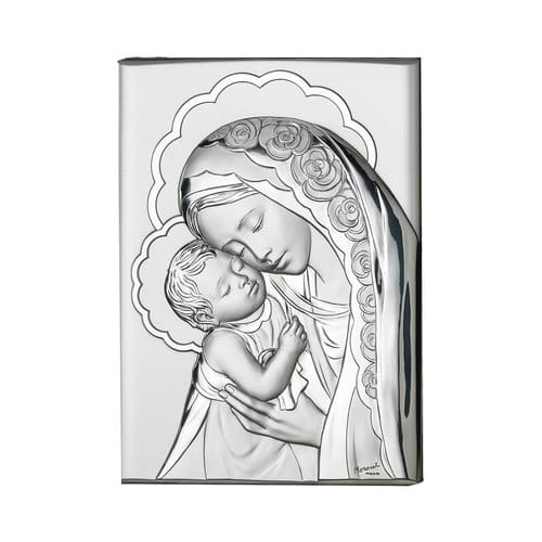 Silver Madonna and Child Standing Plaque