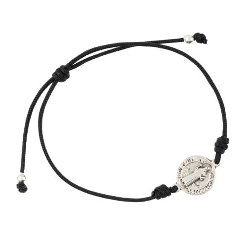Silver St Benedict Medal Black Cord Bracelet