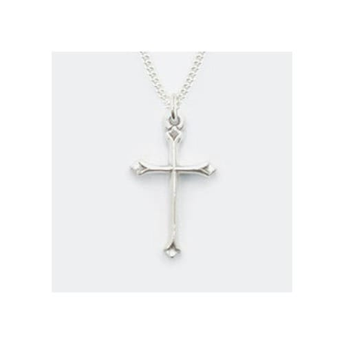 Simple Angled Cross Sterling Silver Pendant