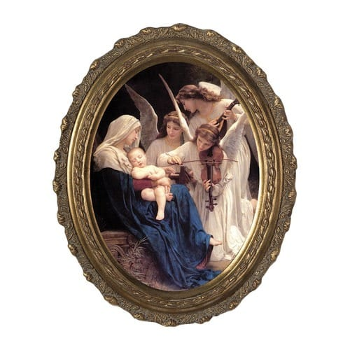 Song of Angels on Canvas w/ Gold Oval Frame