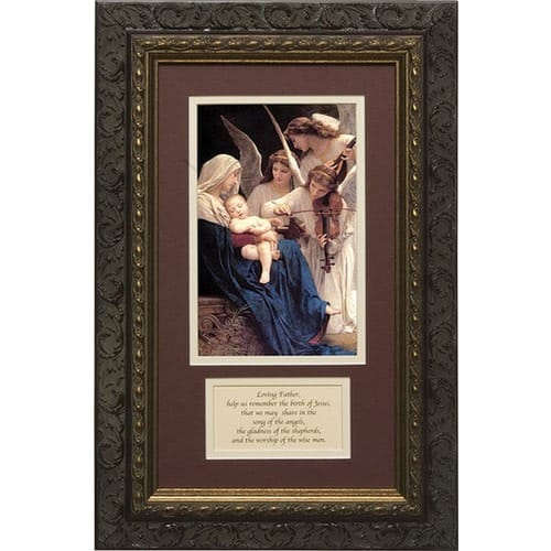 Song of Angels (Matted with Prayer in Dark Ornate Frame) 8x14