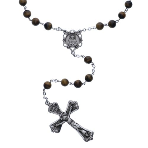 SS 6MM Genuine Tiger's Eye Rosary