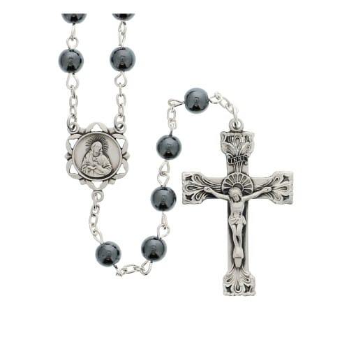 Sterling Silver Hematite Bead Rosary