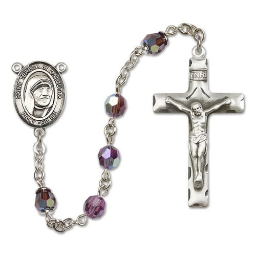 SS Purple February Saint Teresa of Calcutta Rosary