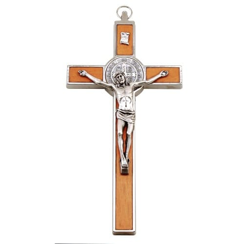 St. Benedict Crucifix, Wood Inlay - 7 inch