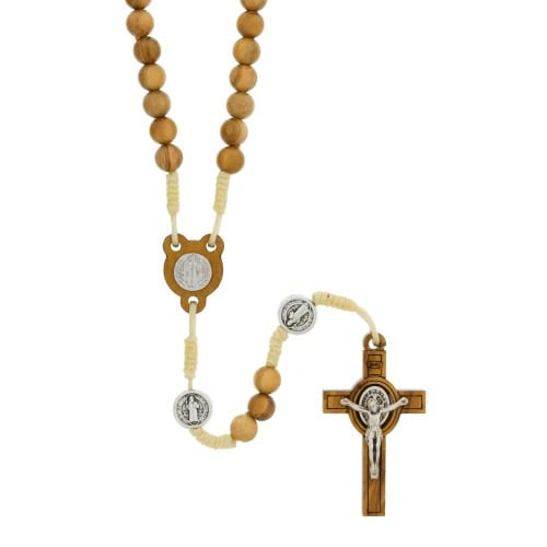 St Benedict Olive Wood Rosary The Catholic Company