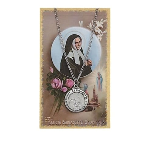 St. Bernadette Patron Saint Prayer Card w/Medal