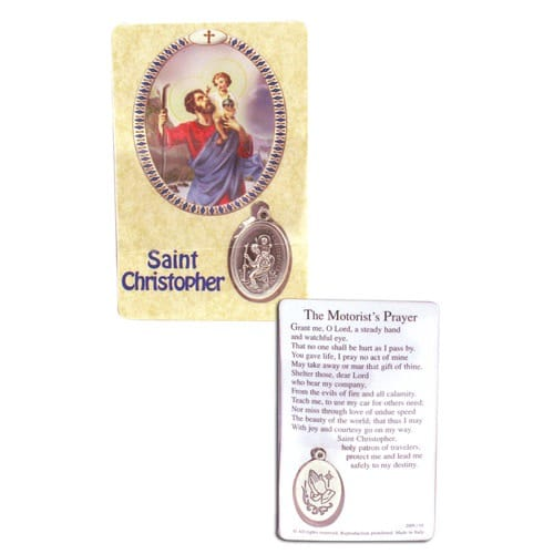 St. Christopher Laminated Prayer Card with Medal