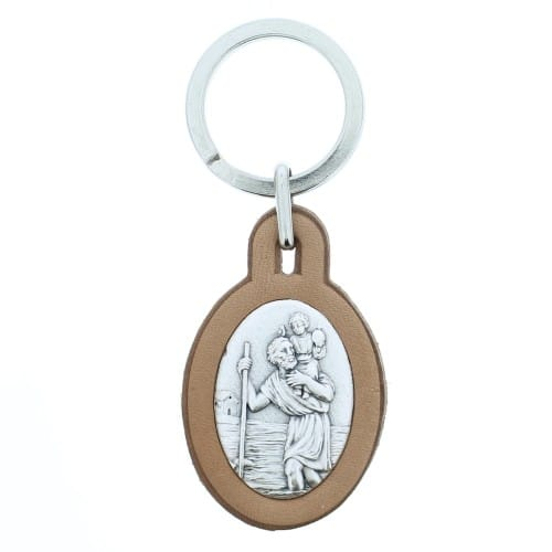 St. Christopher Leather Keychain