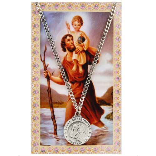St. Christopher Patron Saint Prayer Card w/ Medal