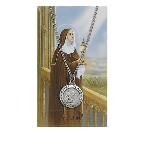 St. Clare Patron Saint Prayer Card w/Medal