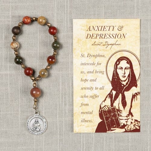 St. Dymphna Anxiety/Depression Decade Rosary & Card