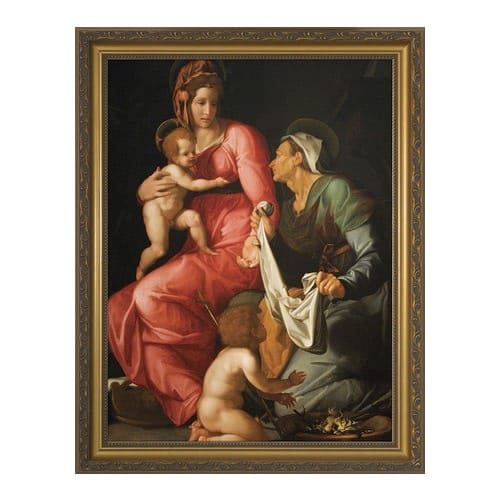 St. Elizabeth with Madonna and Child by Conte w/ Gold Frame