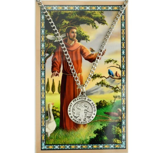 St. Francis of Assisi Patron Saint Prayer Card w/ Medal