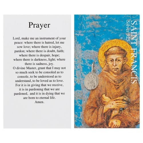 St. Francis of Assisi Silver Medal & Prayer Card