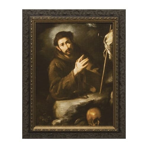 St. Francis in Prayer w/ Dark Ornate Frame