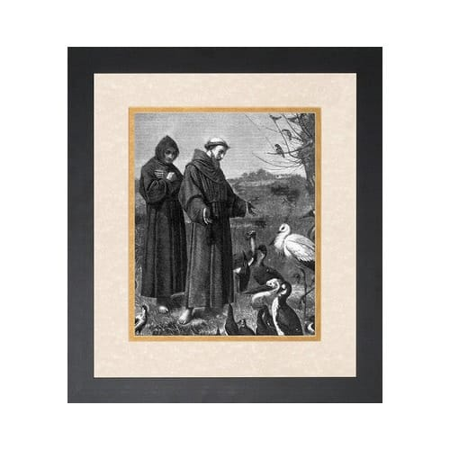 St. Francis Preaching to the Birds (Matted w/ Black Frame)
