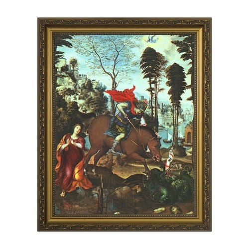 St. George and the Dragon w/ Gold Frame