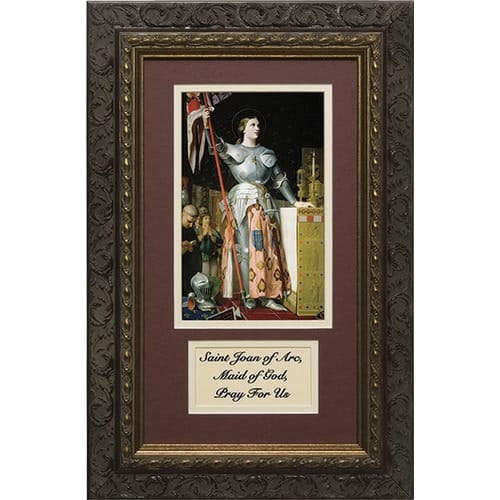 St. Joan of Arc (Matted with Prayer in Dark Ornate Frame) 8x14