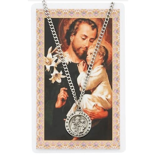 St. Joseph Patron Saint Prayer Card w/ Medal