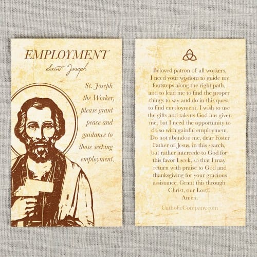 photograph relating to Printable Prayer to St. Joseph identified as St. Joseph the Personnel - Unemployment Prayer Card