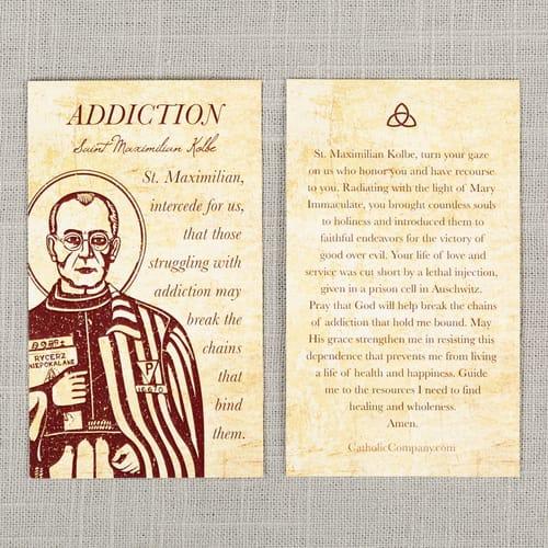 48db01a2 St. Maximilian Kolbe - Addiction Prayer Card | The Catholic Company
