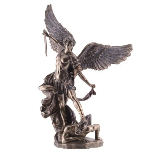 St. Michael Bronze Finish Statue - 14 inch